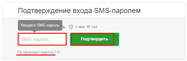 SMS пароль для входа